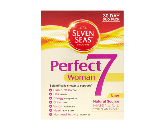 Seven seas perfect 7 woman 30 capsules 30 tablets for Is fish oil good for your hair