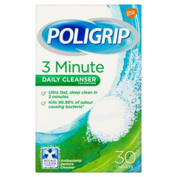 POLIGRIP 3 MINUTES DAILY CLEANSER TABLETS 30`S